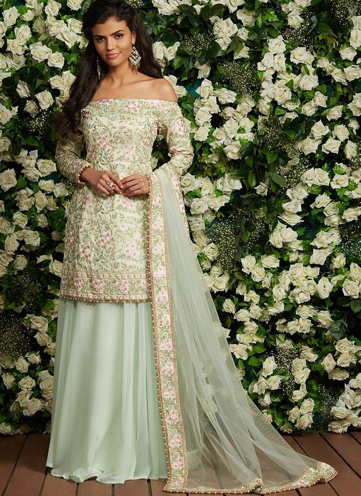 b6f3480261 Mint Green Floral Off Shoulder Sharara Suit in 2019 | style ...