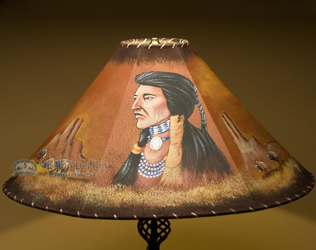 24 painted leather lamp shade indian chief pl51 native indian 24 painted leather lamp shade indian chief pl51 aloadofball Images