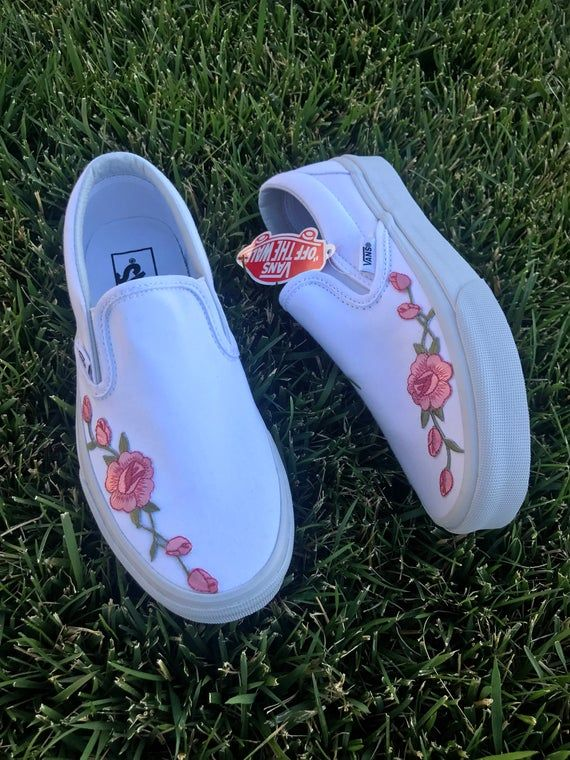 Custom Rose Embroidered Vans is part of Cute shoes, Girls shoes, Custom vans shoes, Embroidered vans, Aesthetic shoes, Vans shoes -  Ex  Mens 6 is women 7 5 Please use the conversion chart if you're still not sure  Pink Old Skools are out of stock at the moment  Shipping out time is 12 weeks usually less Not responsible for lost or stolen packages  Please make sure to order the correct sizes because all sales are final