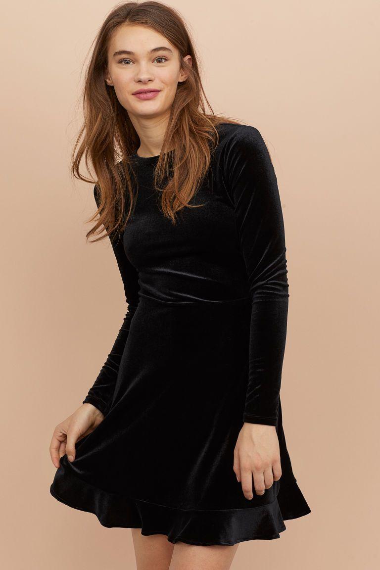 Beste Korte velours jurk (met afbeeldingen) | Zwarte jurk, Jurk zwart ES-94