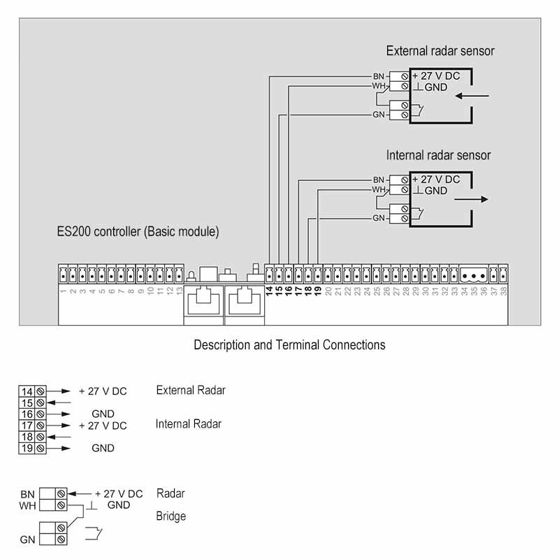 es200 wiring diagram connection scheme  automatic sliding