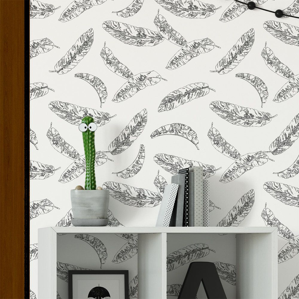 Gender Neutral Black And White Wallpaper Tropical Banana Leaves Peel And Stick Wallpaper Roll Black And White Wallpaper Peel And Stick Wallpaper Playroom Wall