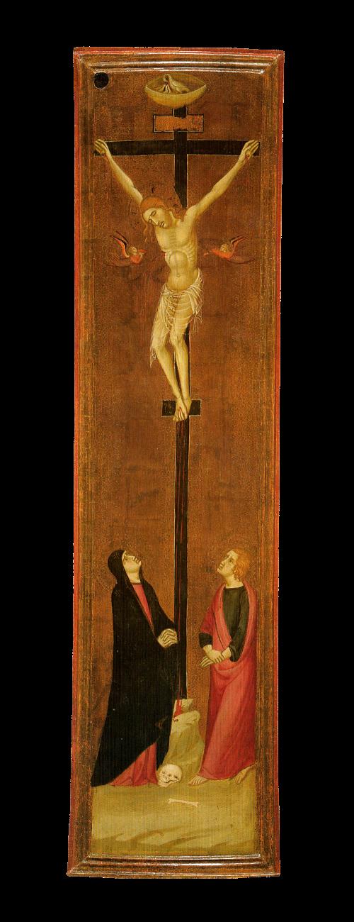 Maestro di Monteoliveto - Crocifisso con Maria e Giovanni dolenti (XIV sec.). Siena, Pinacoteca Nazionale.