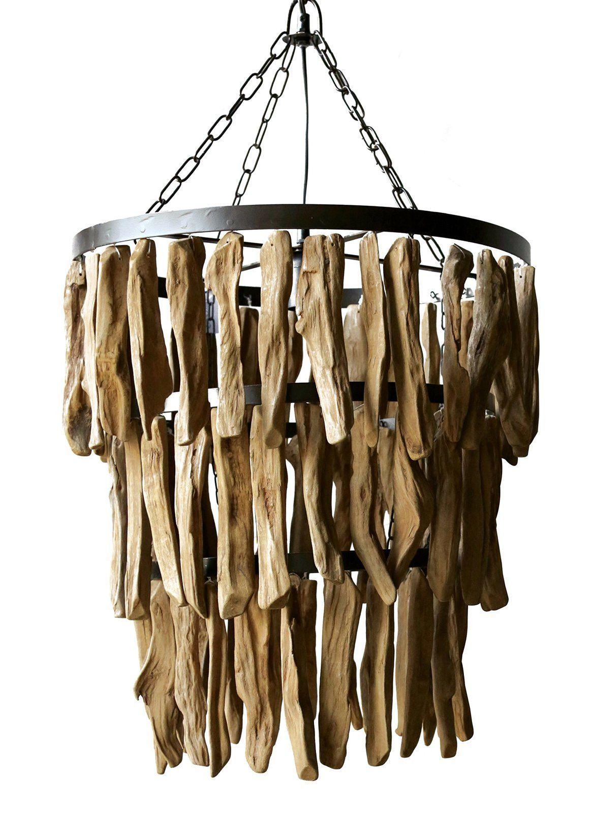 Selous Rustic Lodge Abstract Driftwood 3 Light Chandelier Met