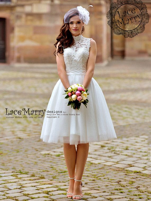 Knee Length Wedding Dresses Short Tulle Dress Removable Skirt Ivory