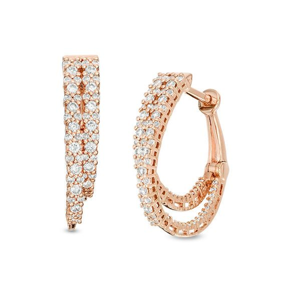 1 Ct T W Diamond Staggered Inside Out Hoop Earrings In 10k Rose Gold In 2019 Products Gold Earrings Hoop Earrings