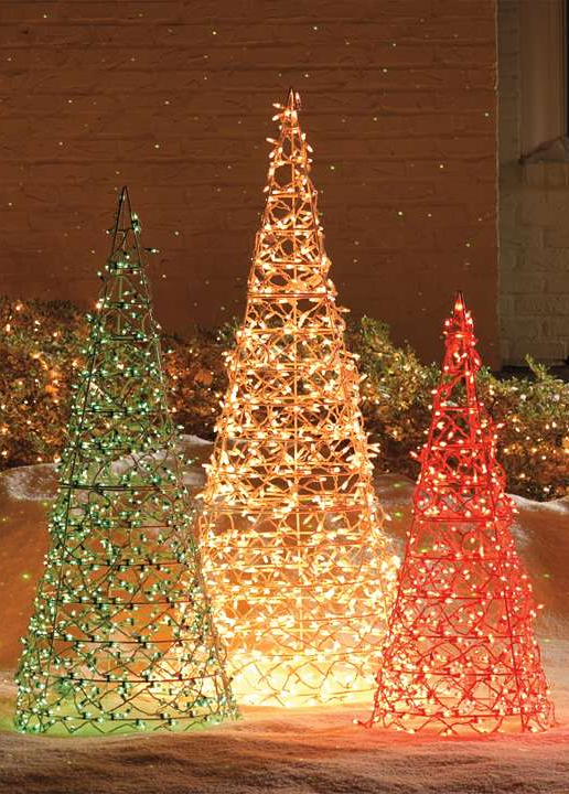 the bright and festive trees are outlined in professional quality outside christmas decorations - Professional Outdoor Christmas Decorations