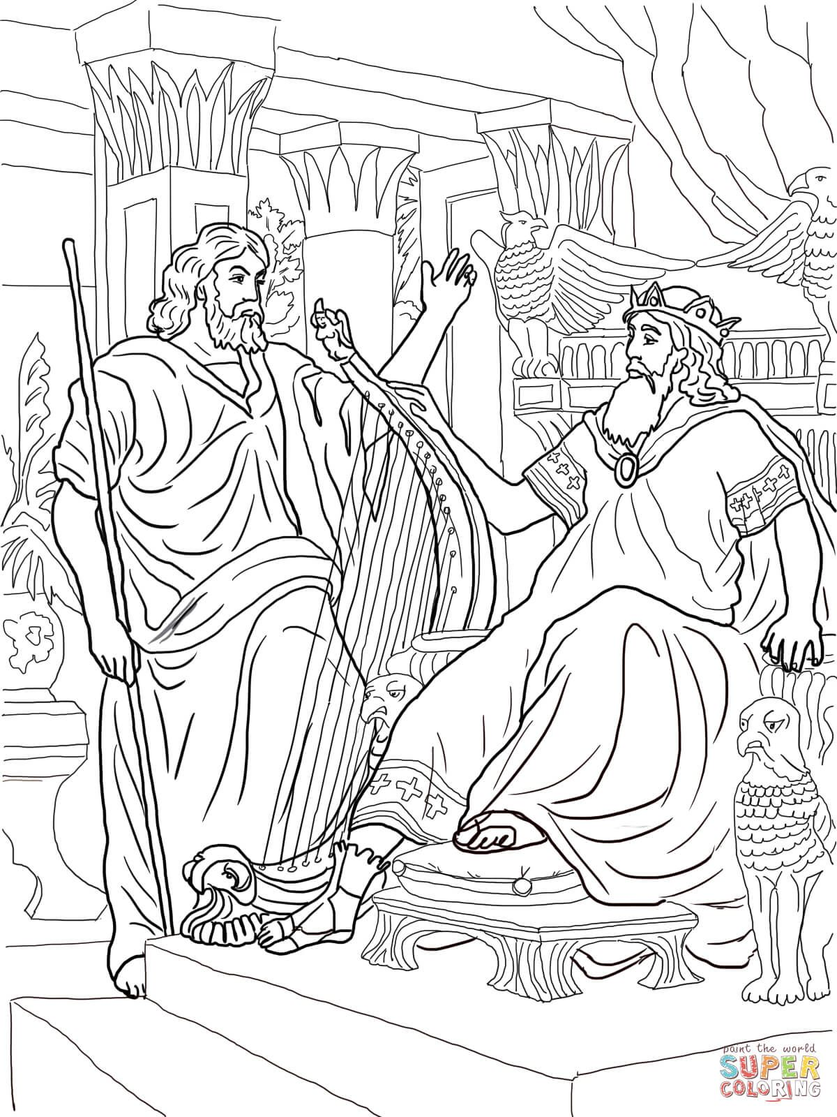 King David And Nathan Super Coloring Coloring Pages Bible