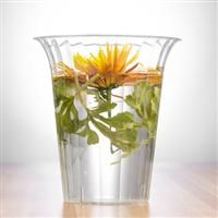 "7.75"" Clear Large Plastic Flared Cylinder Vase 