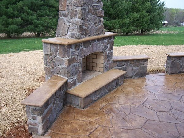 stamped concrete patio with fireplace. View Some Ideas And Designs Of Stamped Concrete Patios Decorative Flooring. Get Great Design For Your Project. Patio With Fireplace