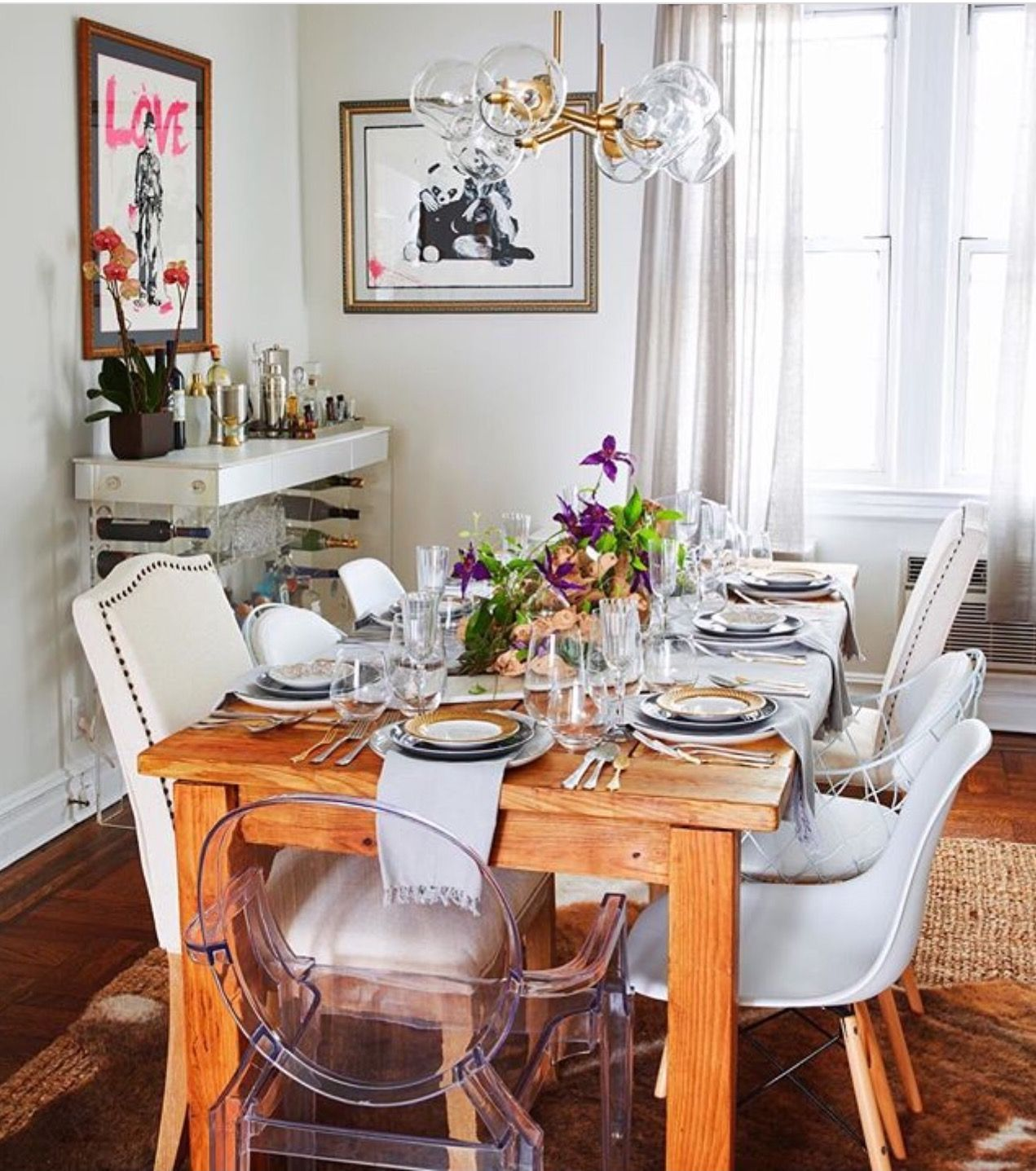 An Eclectic Mix Of Chairs And Materials Make Up This Warm Inviting Brooklyn Dining Room