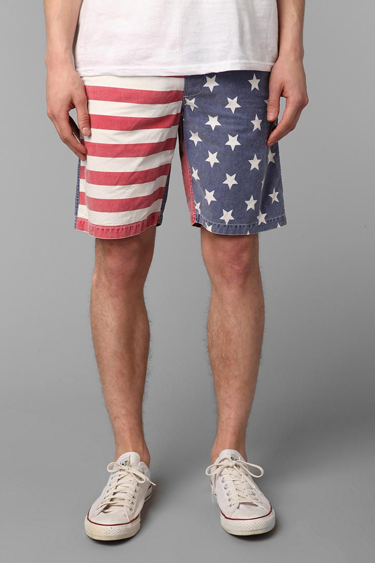 Tropicalia American Flag Elastic Waist Short Online Only