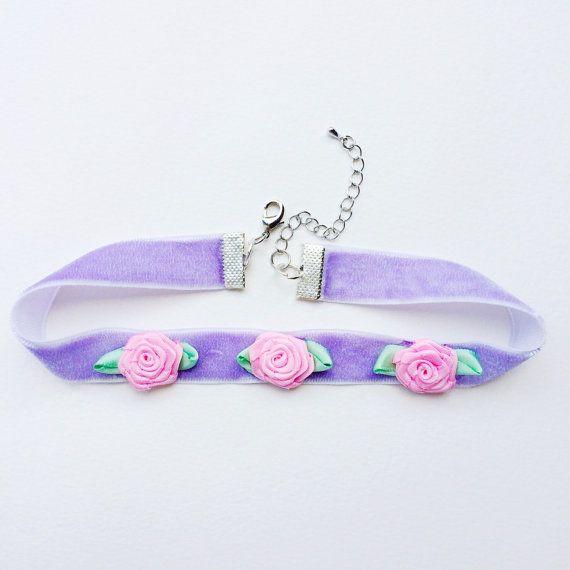 Pastel Velvet Rose Choker in Lilac  Pastel by Foxcultvintage, $10.00