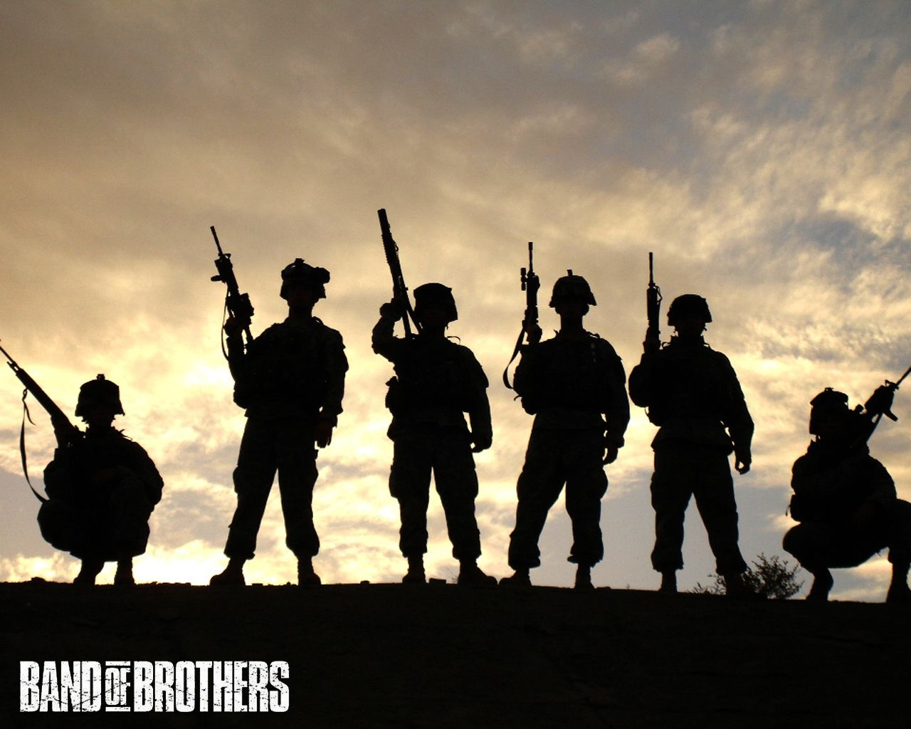 Band of brothers tv miniseries desktop hd wallpaper tv series band of brothers silhouettes of men