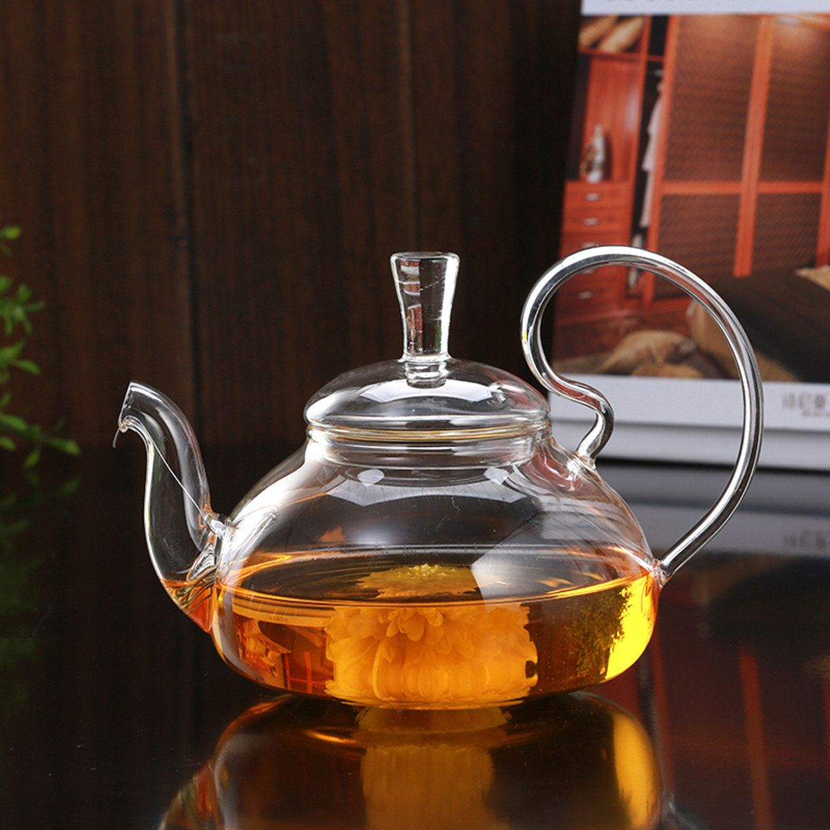 Heat Resistant Elegant Glass Teapot Infuser Flower Green Tea Pot 750ml Size Coffee Pot Bar Accessory Tea Pots Glass Teapot Tea Kettle