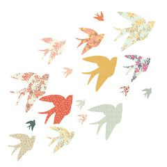 Love Mae . Fabric Wallstickers . 'Swallows' / Floral Patterned
