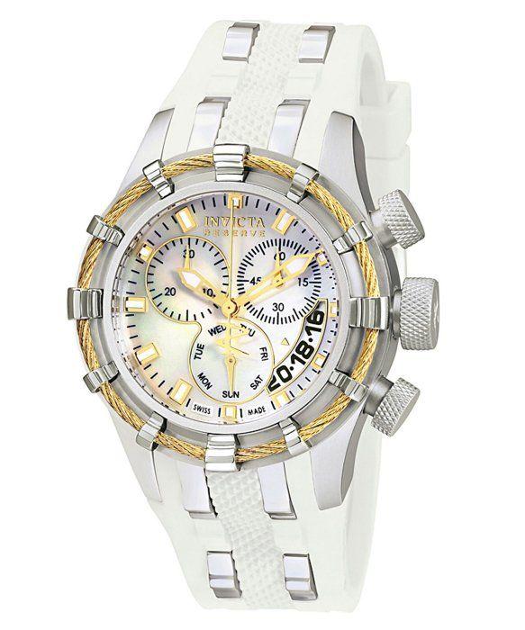 Invicta Women's Reserve Chronograph White Mother Of Pearl Dial White Polyurethane INVICTA-6945 Watch
