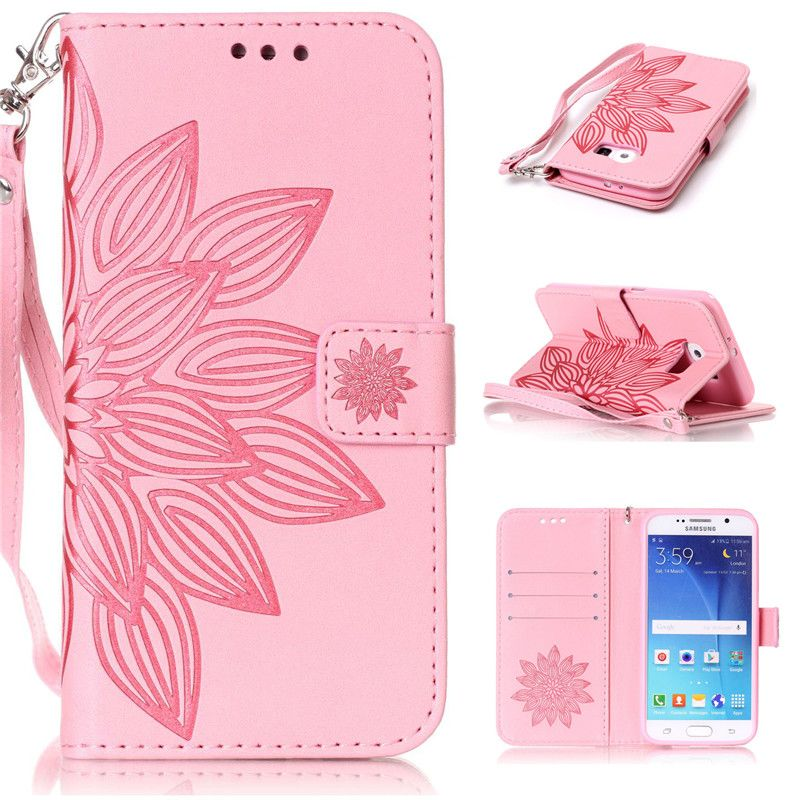Flower Printing Leather Flip Stand Wallet Cover Phone Case For Samsung Galaxy J3 J310 J5 J510 J7 A3 A310 A5 2016 / S3 S4 S5 mini
