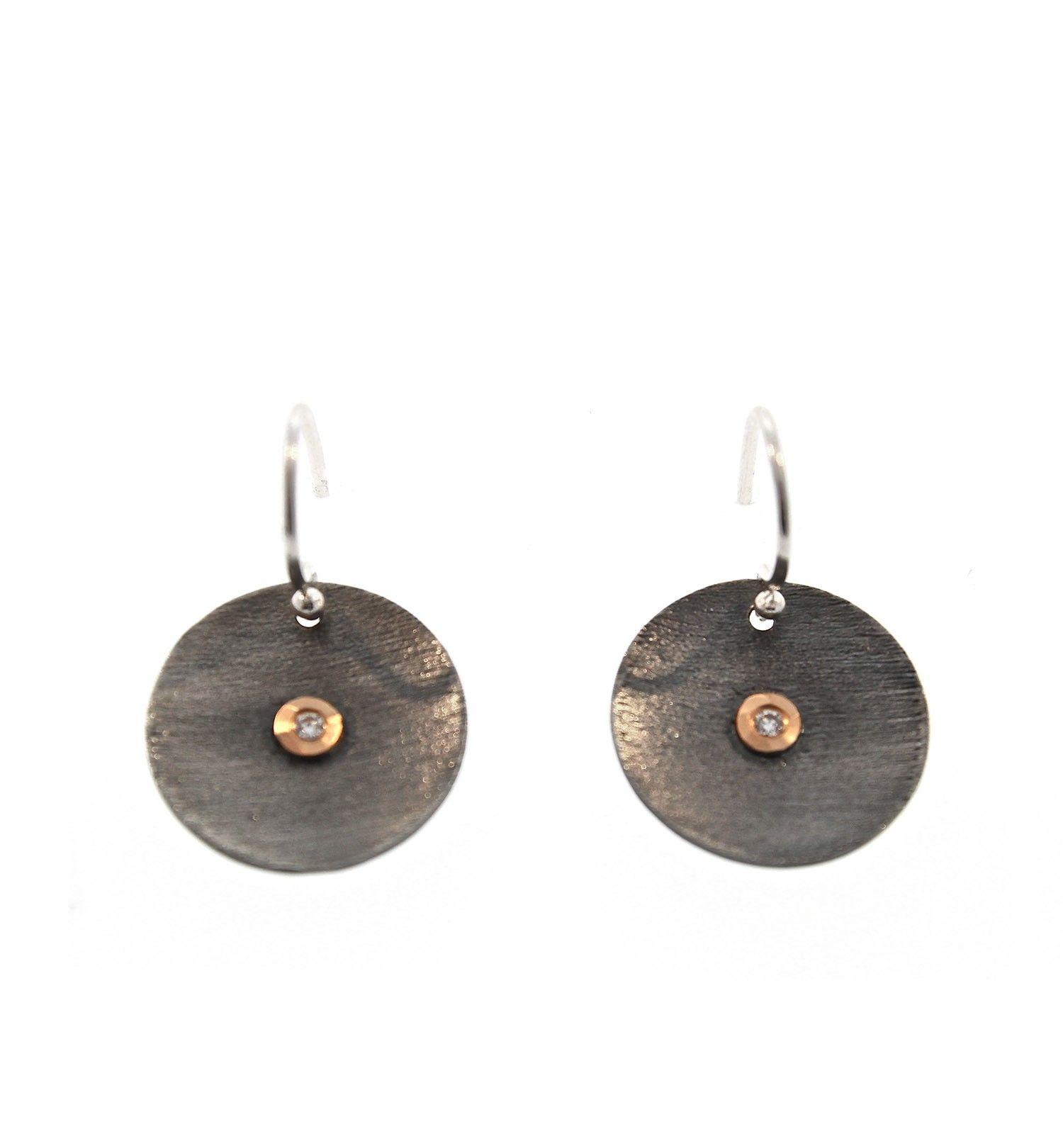 David Tishbi Black Disc Earring - White Diamond in Gold Bezel Black Disc Earrings