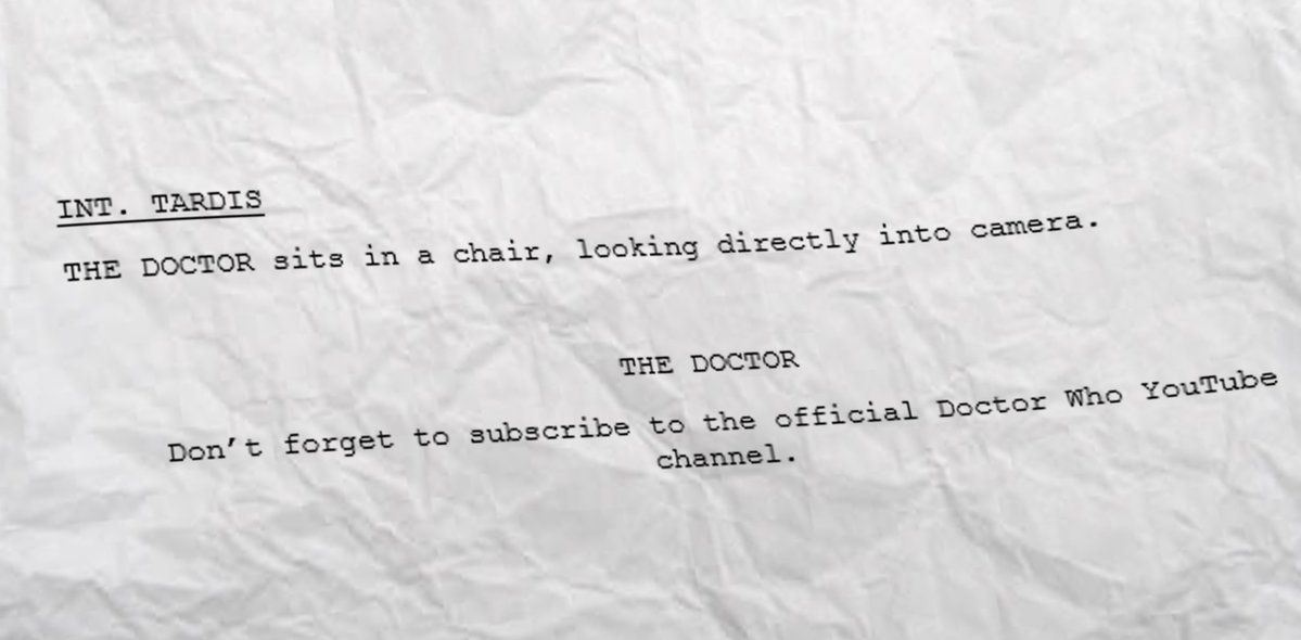LEAKED 13th Doctor Audition Script!! Each actor will be carefully tested for gravitas and twinkle while performing this piece...