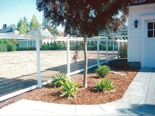 white wire garden fence. White Framed Hog Wire Fence. Garden Fence