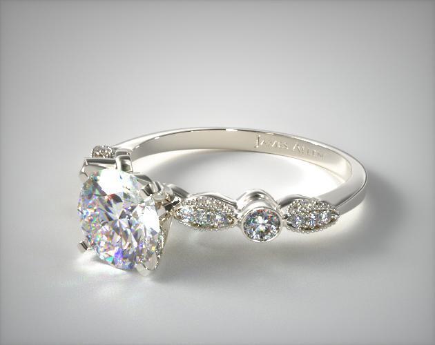 Platinum Antique Bezel And Pave Set Engagement Ring Antique Engagement Rings Wedding Rings Vintage Pave Setting Engagement Ring
