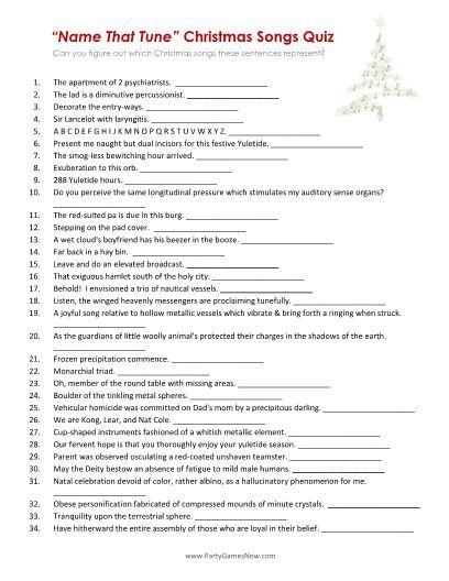 """Name That Tune"" Christmas Songs Quiz - Printable Christmas Games:   Christmas song games ..."