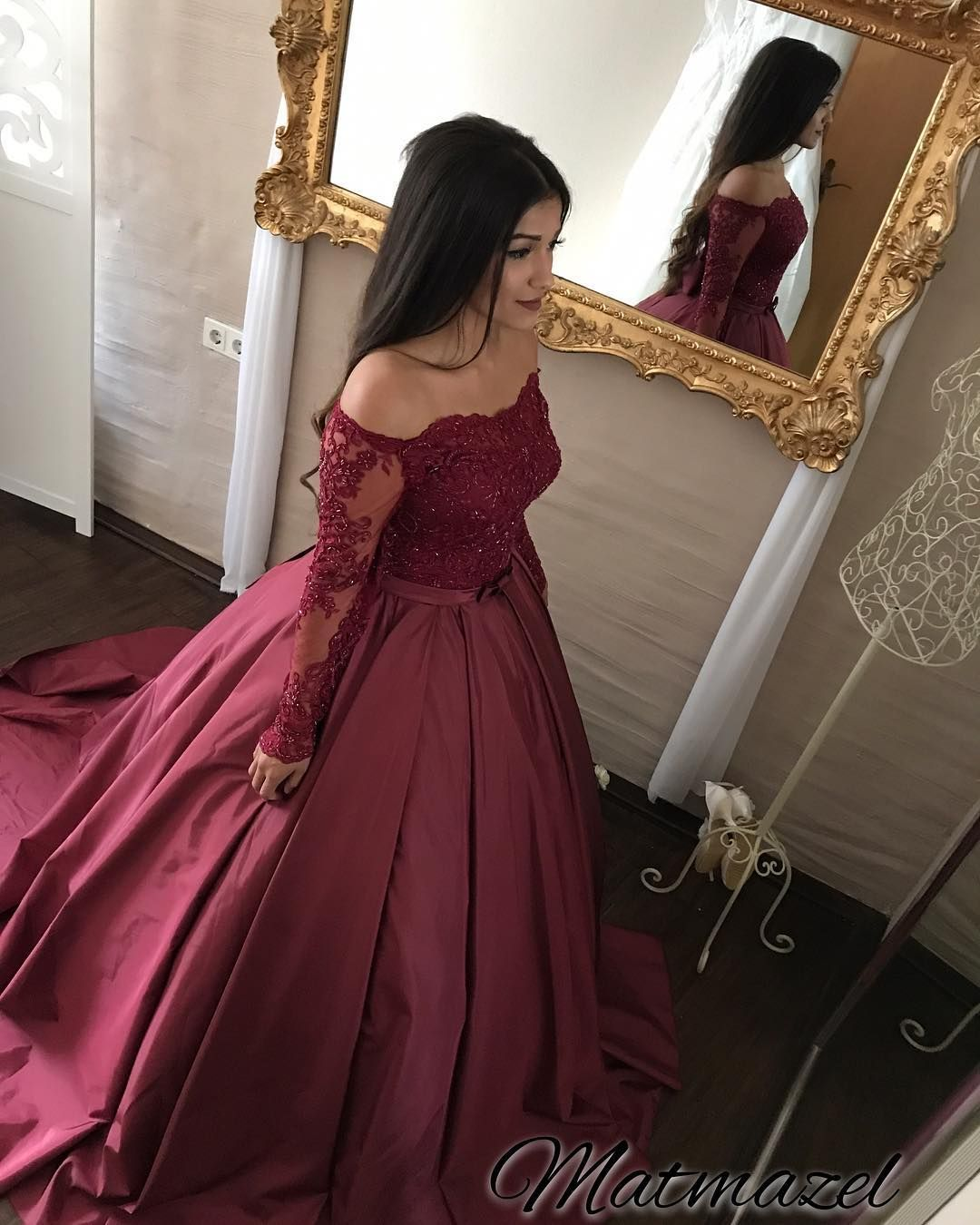 Hot pink ball gown prom dresses off the shoulder long sleeve