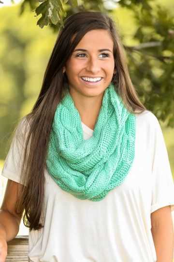 Like the color and style of this infinity scarf. Cup Of Cocoa Infinity Scarf-Pale Mint
