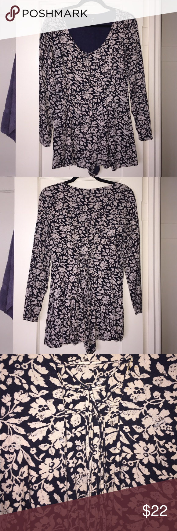 Urban Long sleeve Lucca Zip Front Tie Back Romper Zipper in the front, tie in the back Romper. Black and a cream-color. Floral. Size small. Perfect condition, only worn once. True to size Urban Outfitters Other
