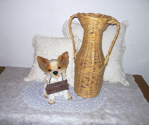 wicker vase + welcome pup