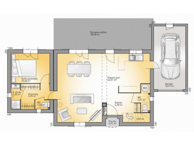 Plan maison neuve à construire - Maisons Open OPEN RHONE ETAGE 95 - maison france confort brignoles
