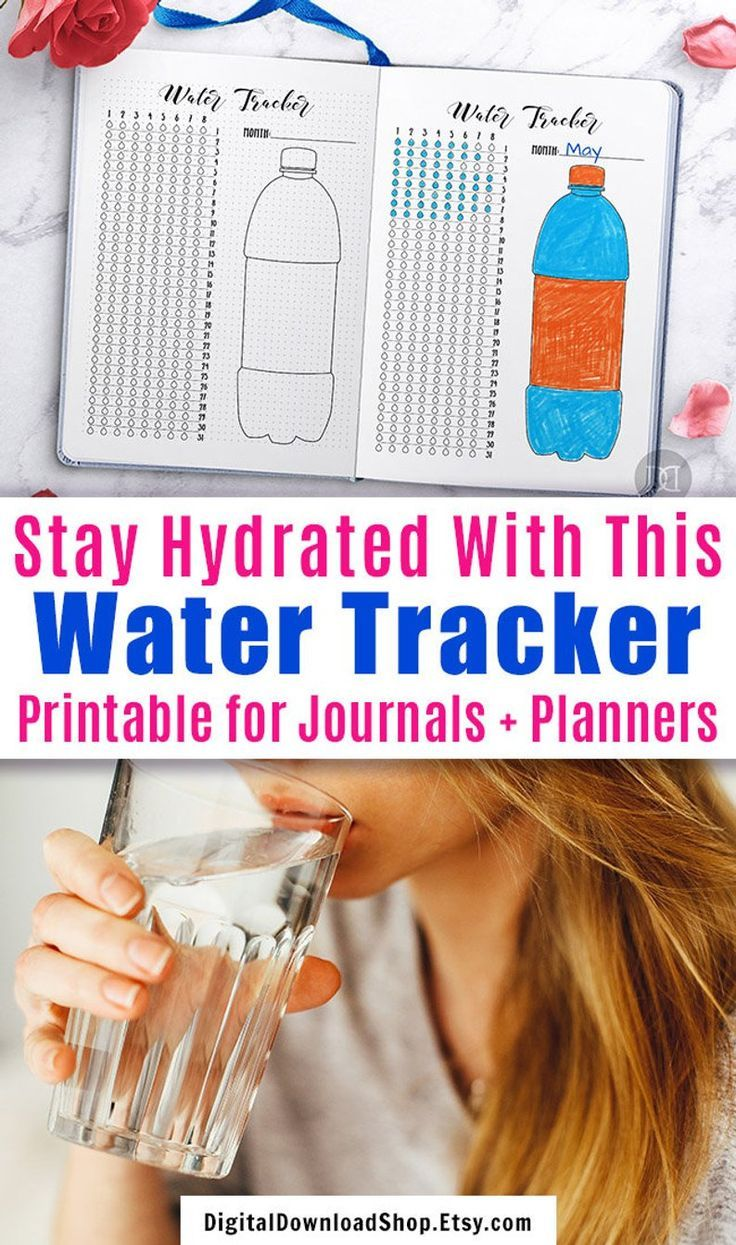 Hydration Tracker Bullet Journal Printable, Water Tracker Printable, Monthly Water Tracker Planner, 31 Day Hydrate Planner, Health, Wellness