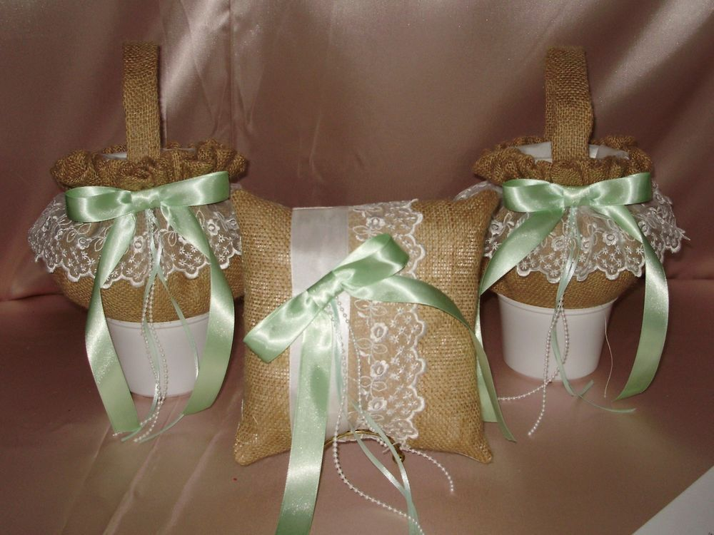 1 Custom Flower Girl Basket 1 Pillow   YOUR Colors