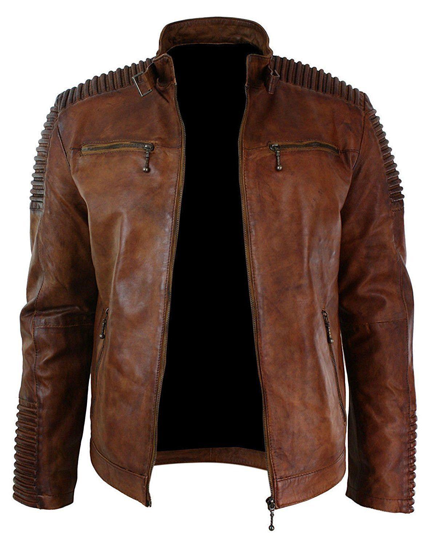 men's biker vintage cafe racer wax distressed brown leather jacket