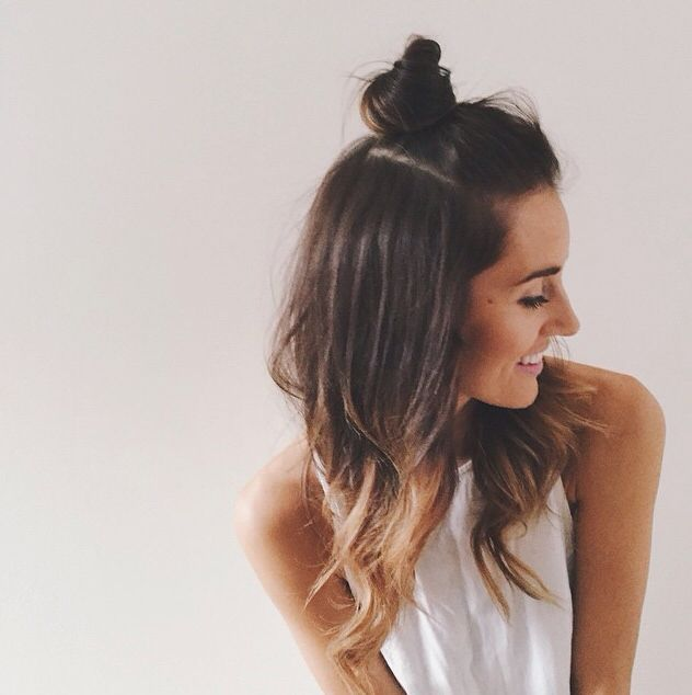 how to style in between hair how to do hairstyle trend half up top knot top bun bun 6780