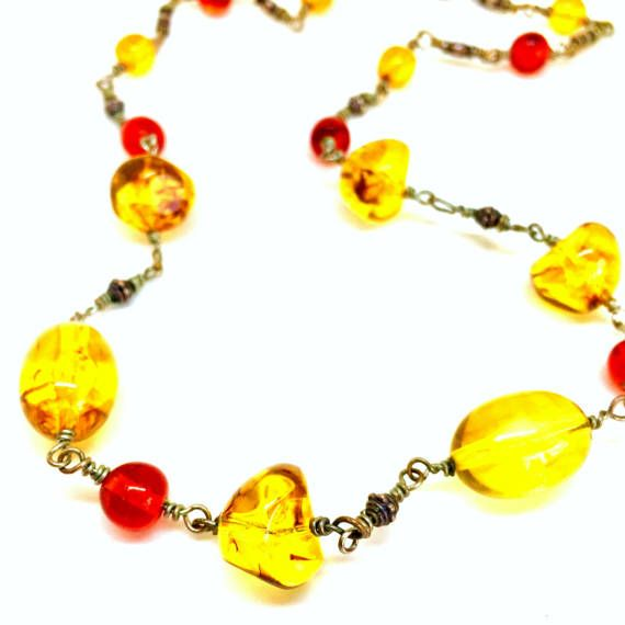 Wire Wrapped Amber Necklace/Amber Jewelry/Amber