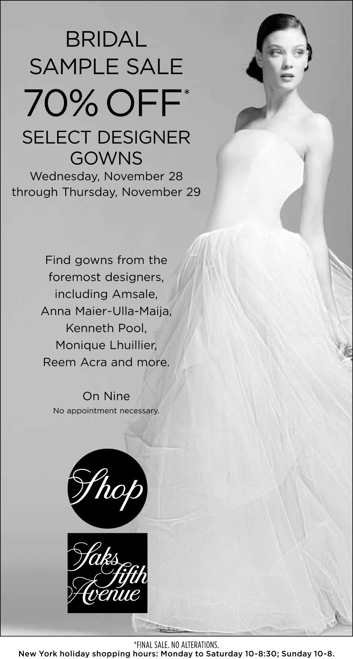 It\'s our Bridal Sample Sale! 70% off Select Designer Gowns. 11/28 ...