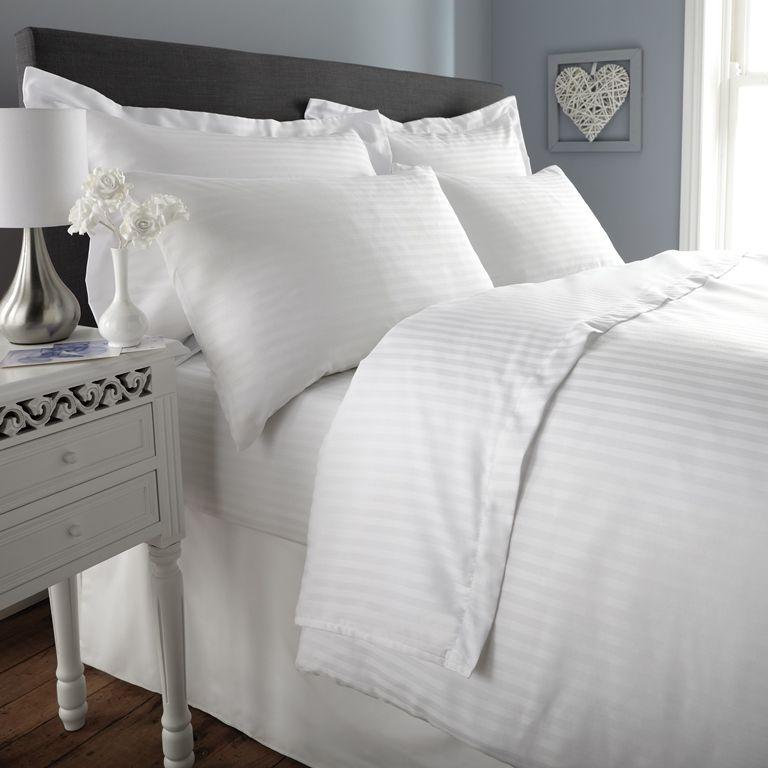 White Stripe Pillowcase Comfy Sateen Duvet Cover Sets Striped Duvet Covers Duvet Covers
