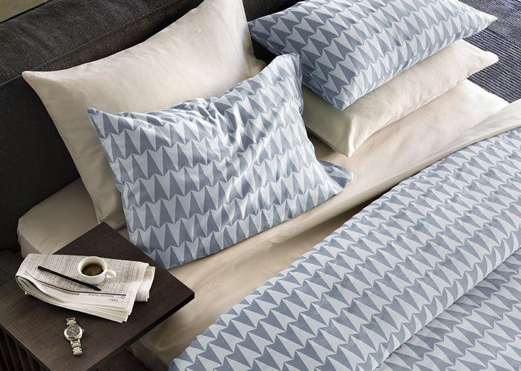 Elson —Arrowed Duvet  Pillows. Arrowed is a graphic print that perfectly suits the bed of a city slicker who is looking to make a confident statement about their style. The washed out, contrasting blues are both relaxing and warming. Queen Duvet RRP: $229 King Duvet RRP: $249 Pillow Set (pair) RRP: $59 • Available at thebigdesignmarket.com