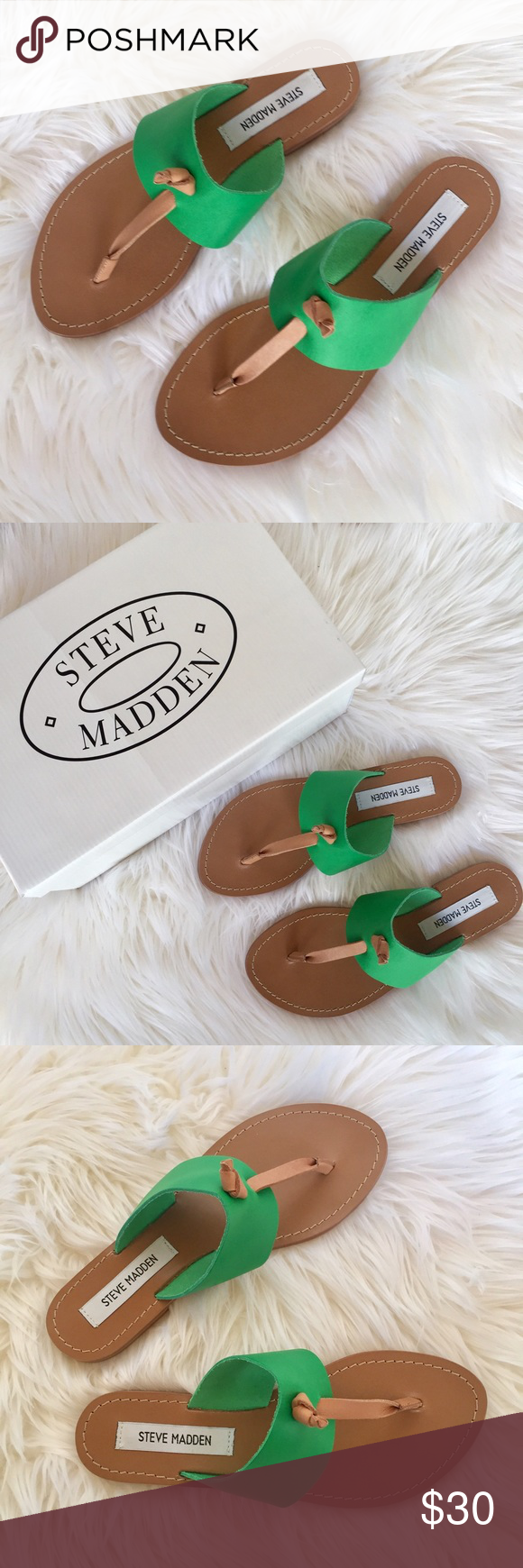 00d7c2135ad Steve Madden Olivia Flat Sandals Green NIB Green Color • Leather Upper •  Rubber Outsole • Made in Brazil • Size 7 • Brand New with Box Included Steve  Madden ...