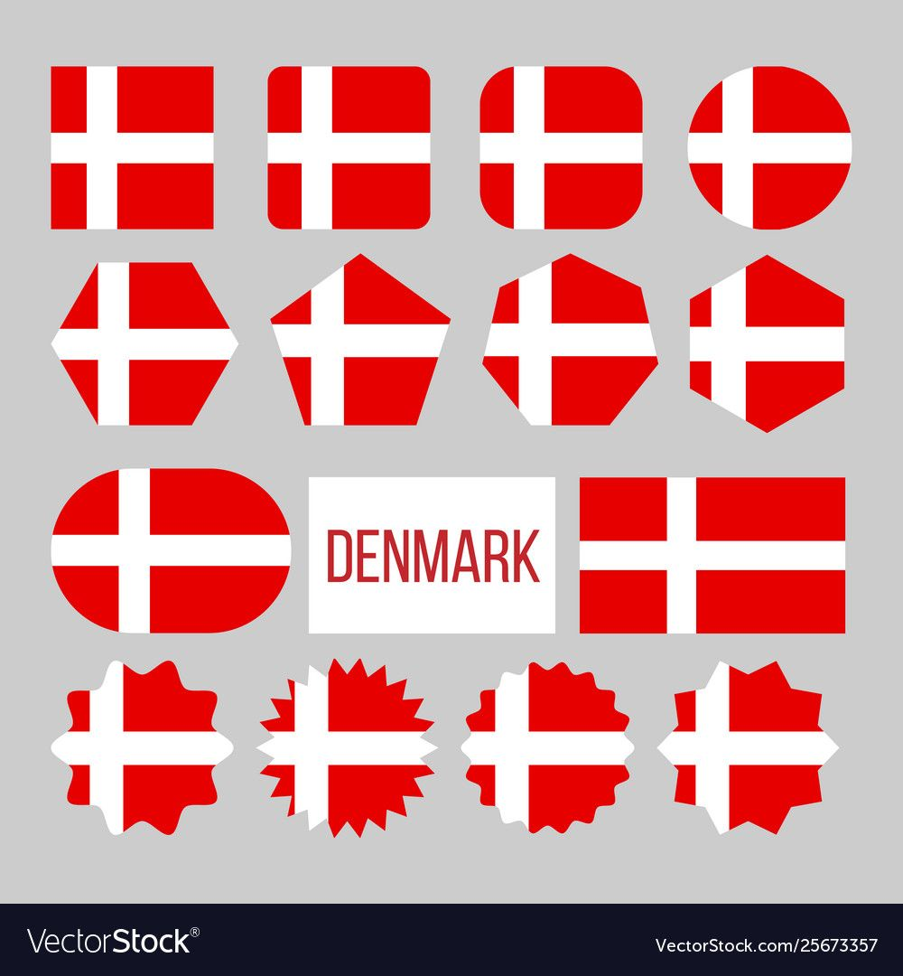 Denmark Flag Collection Figure Icons Set Vector Image Affiliate Collection Figure Denmark Flag Ad Denmark Flag Icon Set Vector Vector Free