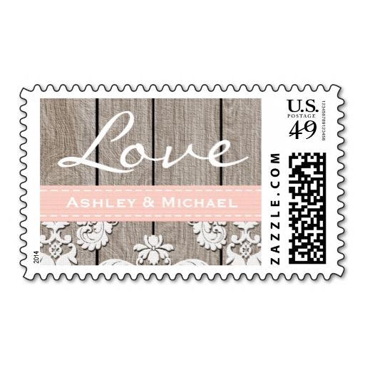 Blush Pink Rustic Wood Lace Love Wedding Stamp. This is customizable to put a personal touch on your mail. Add your photos or text to design your own stamp that can be sent through standard U.S. Mail. Just click the image to try it out!