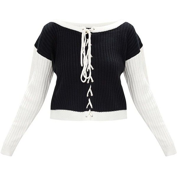 cc328bffef7c Black Lace Up Cropped Knitted Jumper ( 29) ❤ liked on Polyvore featuring  tops