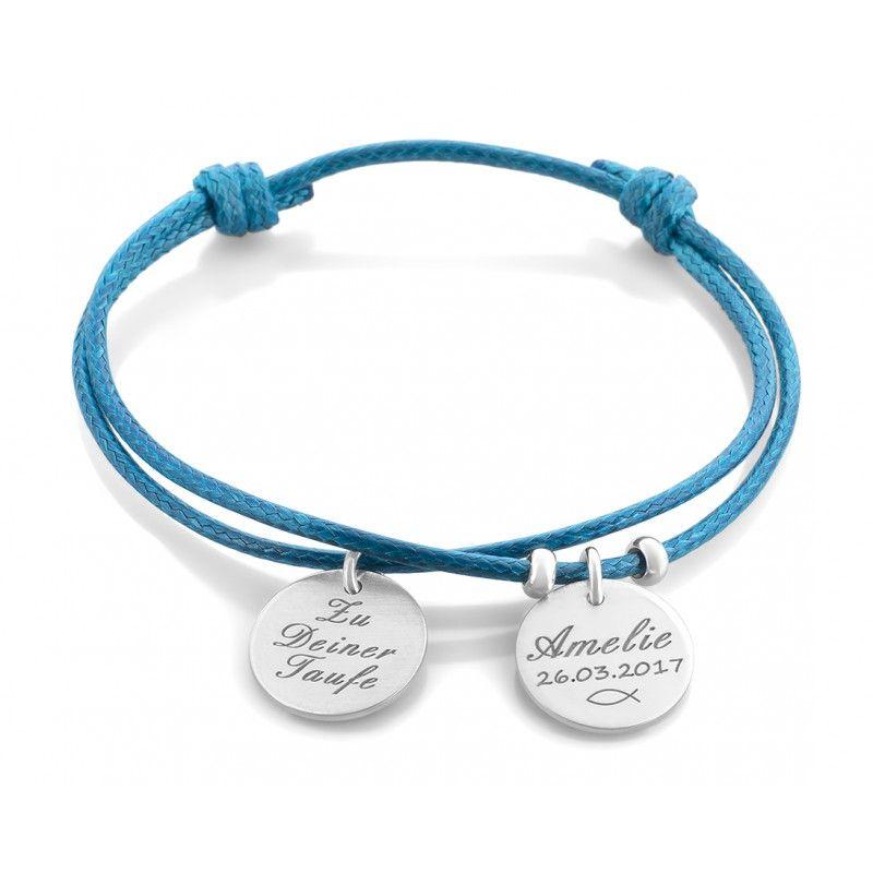 Ein Schönes Armband Aus Baumwollband Mit 925 Sterling Silber