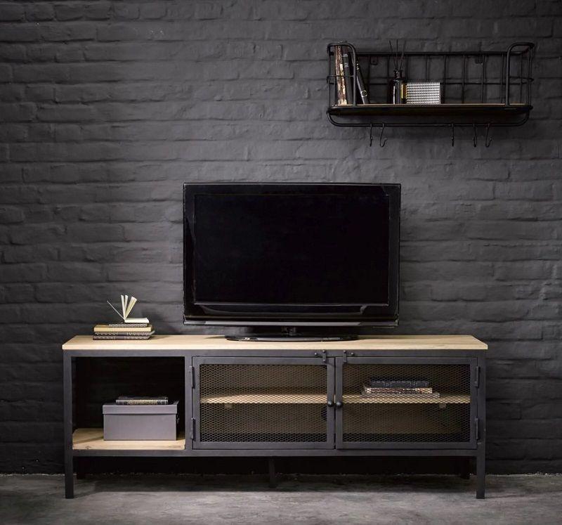 meuble tv indus century en metal noir