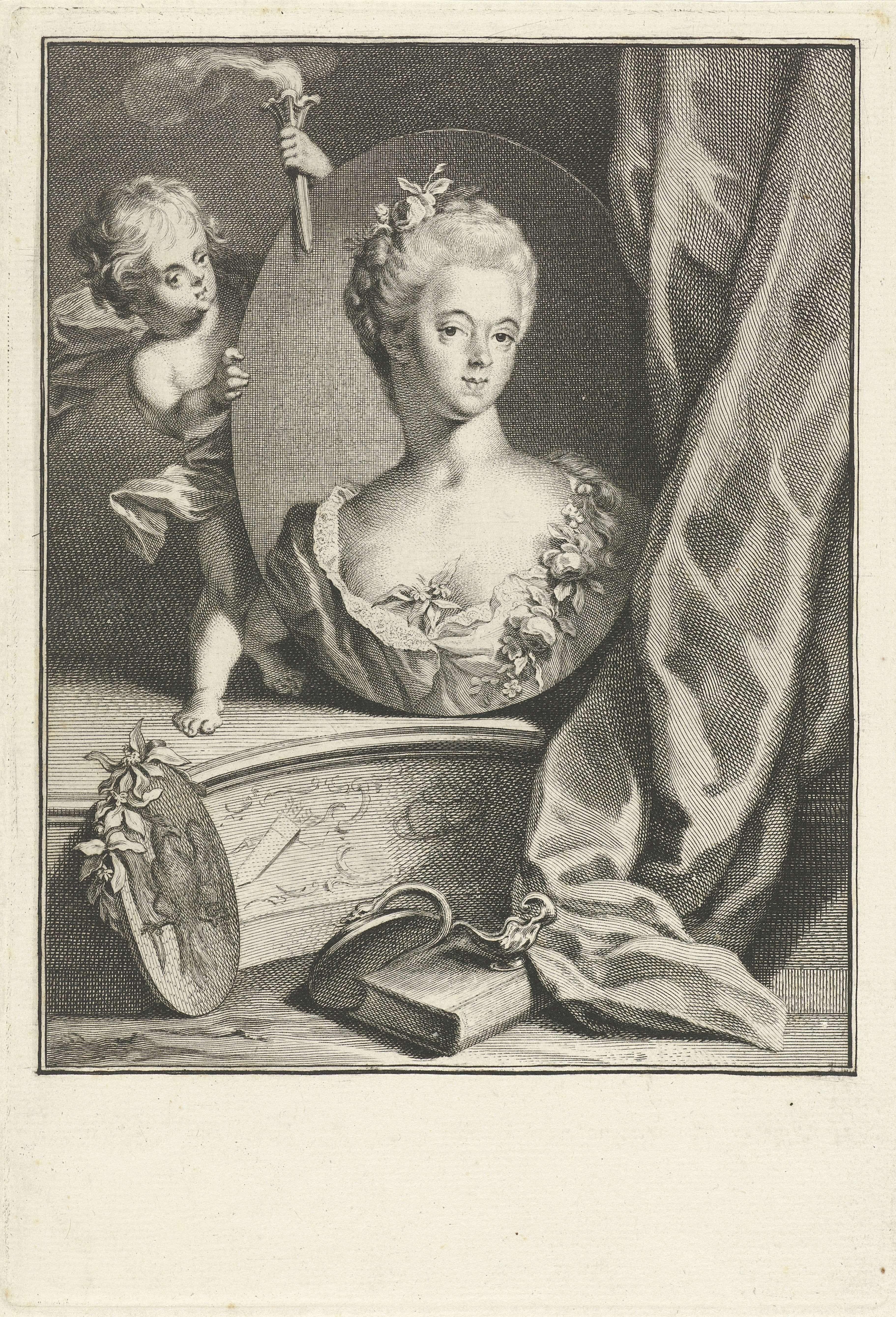 Jacob Houbraken | Portret van Wilhelmina van Pruisen, Jacob Houbraken, Jacobus Buys, Daniel Nikolaus Chodowiecki, 1767 - 1769 | Portret van Wilhelmina van Pruisen in een ovaal medaillon dat wordt vastgehouden door een putto met een fakkel.