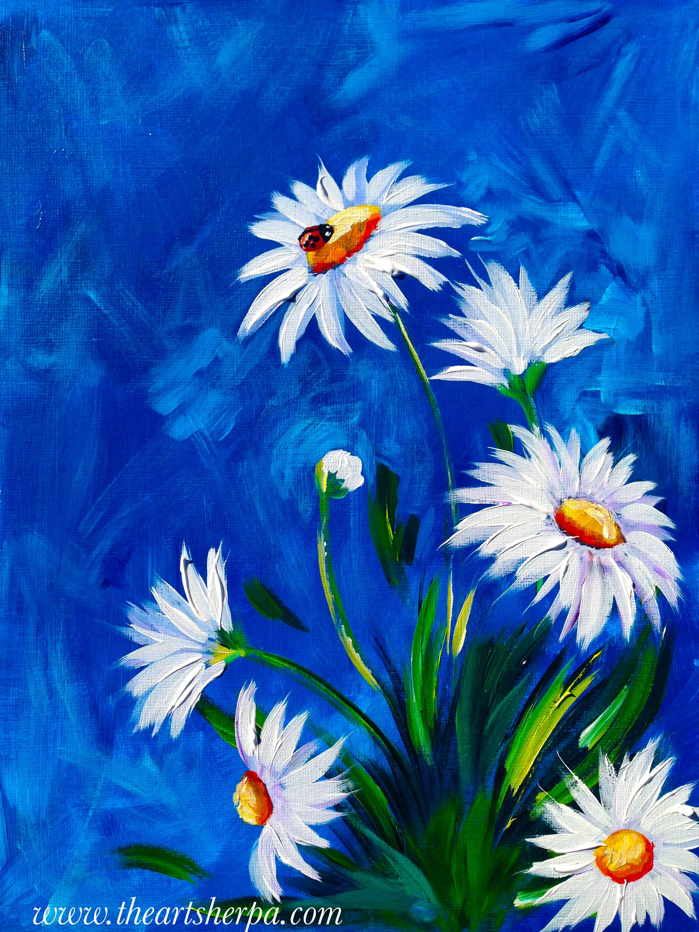 Spring white daisy with lady bug abstract acrylic floral for Floral acrylic paintings