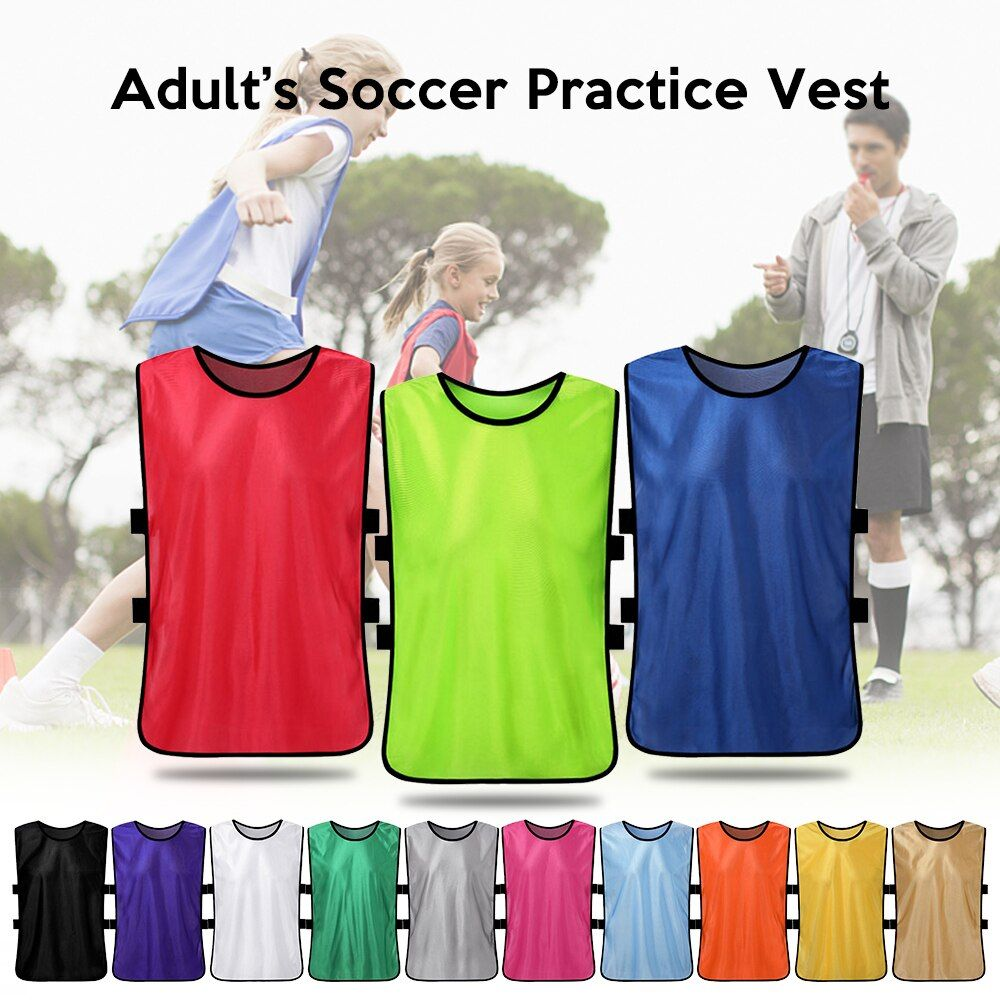 12 Pcs Adults Quick Drying Football Jerseys Vest Scrimmage Practice Soccer Pinnies Jerseys Youth Practice Training Bibs In 2020 Soccer Outfit Sports Vest Kids Soccer