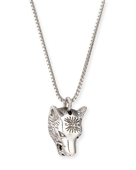 gucci necklace mens. gucci angry forest men\u0027s wolf head sterling silver necklace, black. #gucci # gucci necklace mens